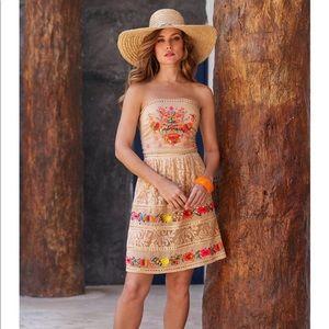 Boston Proper Strapless Embroidered Lace Dress